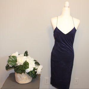 Charlotte Russe Midnight Blue Velvet Bodycon Dress